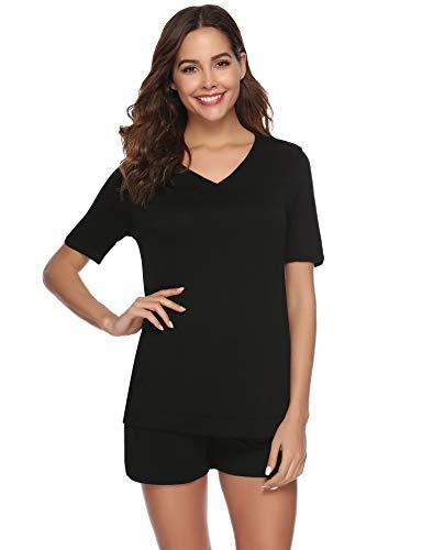 Noir Pyjamas Confortable Aibrou Vêtements Nuit Ensembles Coton Femmes De 855vw6fq