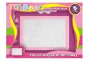 T'T Bear Magnetic Drawing Board, Huge Sketch Board. Etch with Pen or 4 Included Stampers. Erases Fully with Sliding (Light Purple - Red)