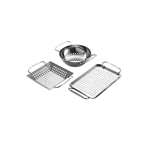 Extreme Salmon Mini Grill Topper, Grill Accessories Set Heavy Duty Grill Basket Stainless Steel Grill Pan for Vegetable Charcoal Barbecue Grill Wok Cookware for Outdoor Grill Cooking