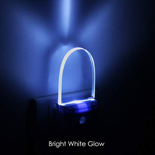 [ Bright White Glow ] Plug In LED Night Light with Dusk to Dawn Sensor, Auto ON/OFF, Pack of 2