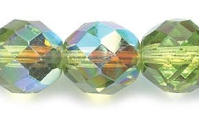 - Preciosa Czech Fire 10mm Polished Glass Bead, Faceted Round, Olive Green Aurora Borealis, 60-Pack