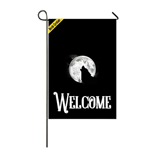 Bernie Gresham Garden Flag Cover Welcome wolf Colorful Garde