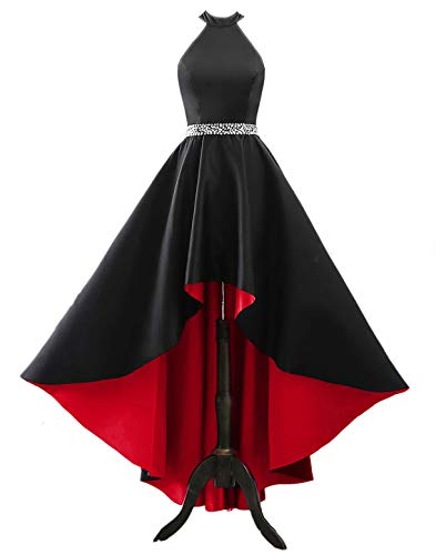 (Changuan Halter High Low Evening Party Dress Long Satin Homecoming Prom Formal Gowns Black/Red-14)