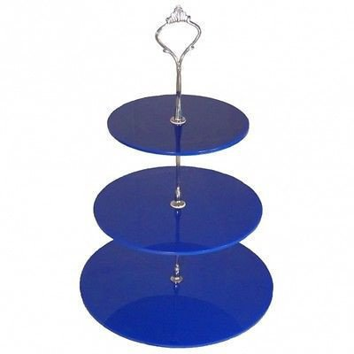 Three Tier Round Cake Stand - Blue - Large - Handled Cake Platter