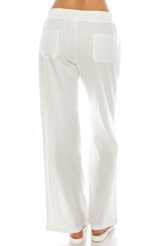 Poplooks Women's Beachside Soft Palazzo Style Linen Pants (Large, White) by Poplooks (Image #3)
