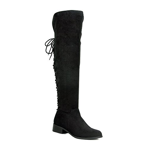 WestCoast Women's Over The Knee Boots Back Corset Lace Up Fold Cuff Back Tie Flat Knee High Dress Riding Boots Black 7.5