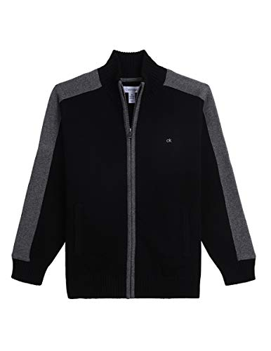 Calvin Klein Big Boys' Full Zip Sweater, Blocked Black, XL18/20 (Calvin Klein Embroidered Sweater)
