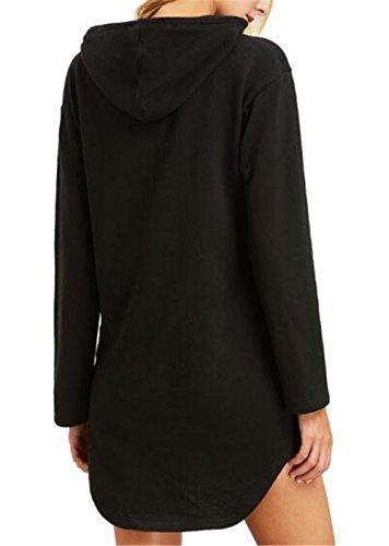 Con Elegante Cappuccio Cappotto Lungo Sweater Puro Black Pullover Lunga Donna Hoodies Colore Manica Sweatshirt Casual Sportiva Kerlana Tasche Moda wzHx4tEqOO
