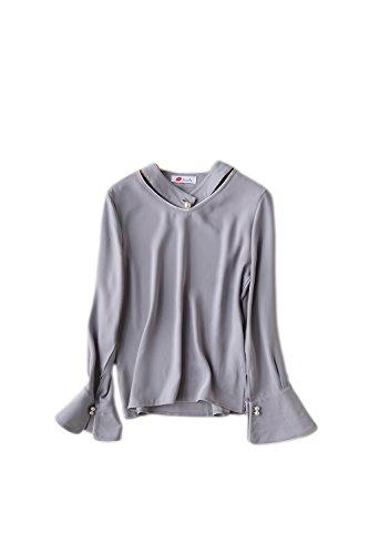 Gasa manga larga blusa Top Yacun mujeres Gray