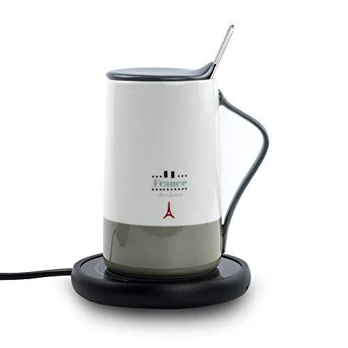 Coffee Warmer Mug (Electric Coffee Mug Warmer and 15 OZ Fine Bone China Coffee Mug for Office Home)