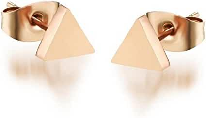 14K Rose Gold Plated Stainless Steel Stud Earrings, A Pair Triangle Tiny 5mm Stud Earrings Ge312