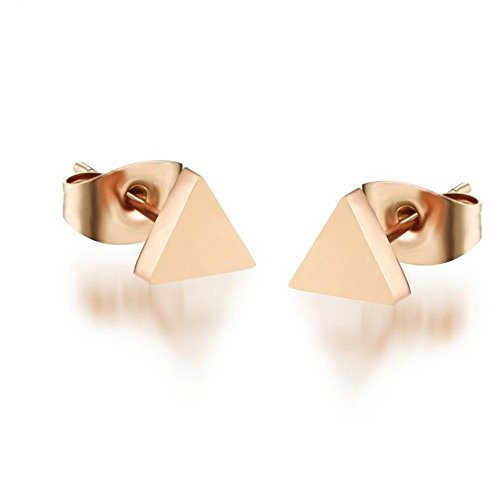 Earrings Triangle Stud - 14K Rose Gold Plated Stainless Steel Stud Earrings, A Pair Triangle Tiny 5mm Stud Earrings Ge312