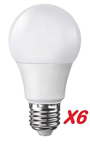 Pack de 6 bombillas LED estándar E27 grande tornillo 7 W (EQ. 40 Watt) 4000 K blanco neutro: Amazon.es: Iluminación