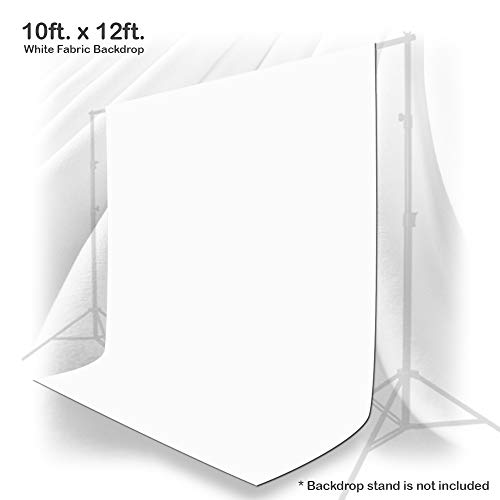 Julius Studio 10 x 12 ft. White Chromakey Photo Video Studio Fabric Backdrop, Background Screen, Pure White Muslin, Photography Studio, JSAG208