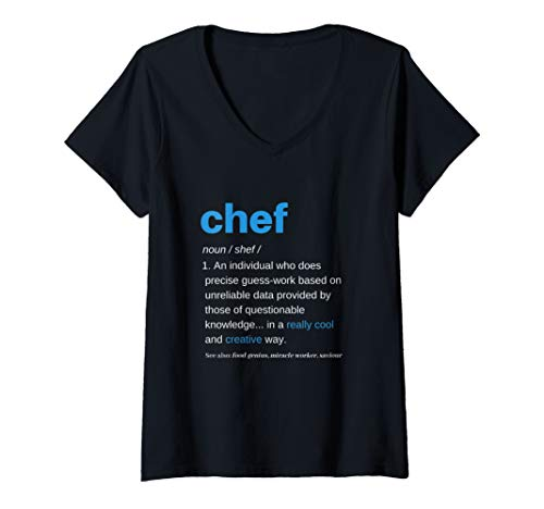 Womens Chef Shirts for Men Funny T Women Cooking Apparel Definition V-Neck T-Shirt]()
