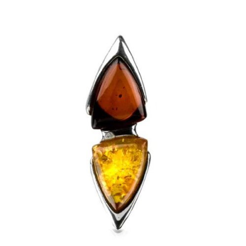 Amber Triangle Pendant (Sterling Silver Multicolor Amber Triangles Pendant)