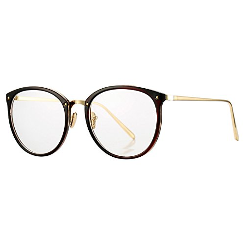 Vintage Round Optical Glasses Frame Hipster Non-prescription Retro Oval Eyewear with Clear Lens for Women - Hipster Brown Glasses