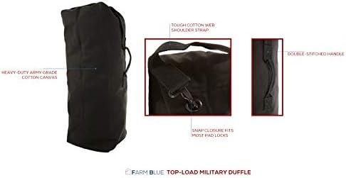 Farm Blue GI Style Zipper Duffel Bag OD - XL Heavy Duty Army Duffle Bags - Military Grade Cotton Canvas Dufflebag - Reinforced Camping Bag - Strong Zipper & Center Grab Handle (Olive Drab, XL)