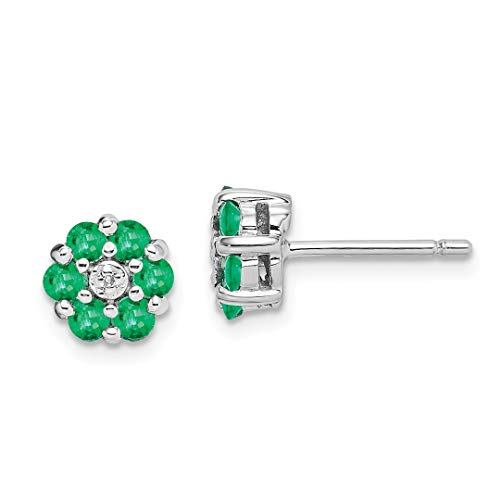 925 Sterling Silver Green Emerald Diamond Post Stud Ball Button Earrings Fine Jewelry For Women Gift Set (Antique Stud Diamond Earrings)