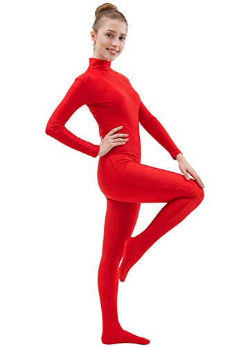 Ensnovo Womens Lycra Spandex Zentai Suits One Piece Footed Unitard Red,S -