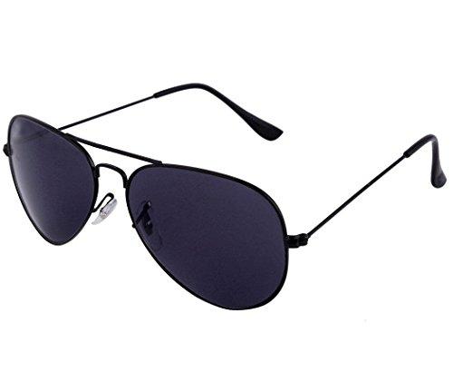 Agera Uv Protective Unisex Aviator Sunglasses – (Ag1001-Blk-Blk 58 Black Lens)