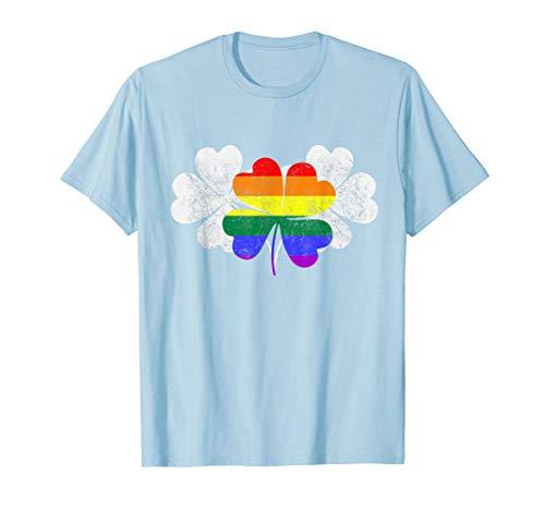 (Gay Pride Rainbow Shamrock LGBT St Patricks Day Shirts)