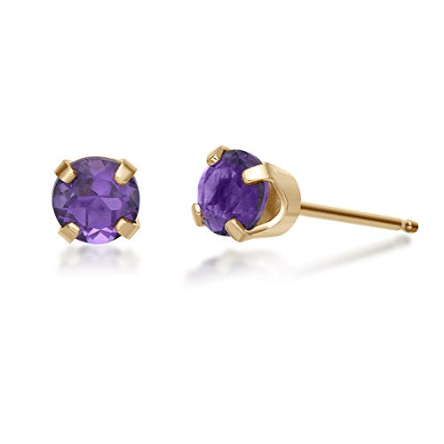- .40 CT Round 2.7MM Purple Amethyst 14K Yellow Gold Stud Birthstone Earrings