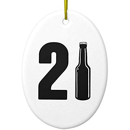 (Cheyan Just Turned 21 Beer Bottle 21st Birthday Metal Ornament Oval)