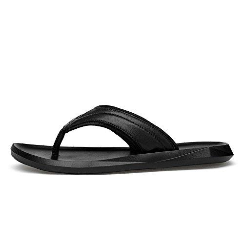 Men's Casual Flip Flops Genuine Leather Beach Slippers Non-Slip Sole Sandals Black,Flip Flop Sandals for Men Black