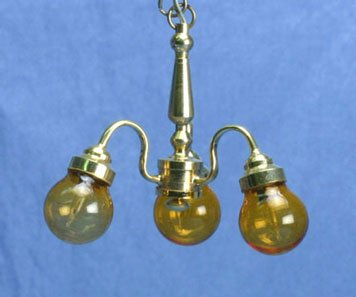 Miniature House Dollhouse Chandelier, 3-Light, Amber