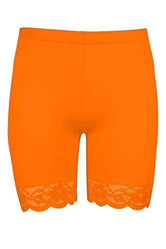 Loxdonz Women's Neon Bike Shorts Lace Trim Slip Shorts Workout Yoga Shorts Undershorts (Large, Neon Orange)