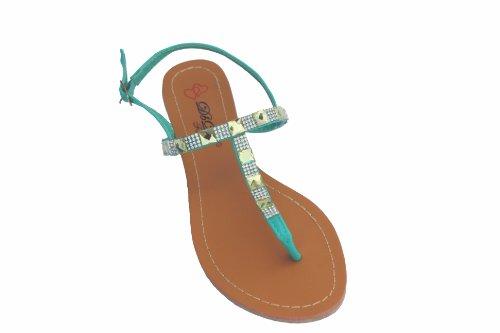 Dbdk Ember-1 Beige Sarcelle Strass T-strap Sandale Plate Vert