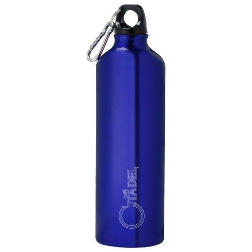 CollegeFanGear Citadel Venture Aluminum Blue Bike Bottle 26oz 'Primary Mark Engraved' by CollegeFanGear