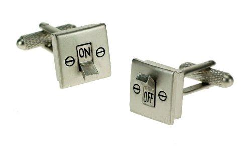 Interrupteur marche/arrêt d'électricien dans coffret cadeau Boutons de manchettes-Onyx-Art London CK376