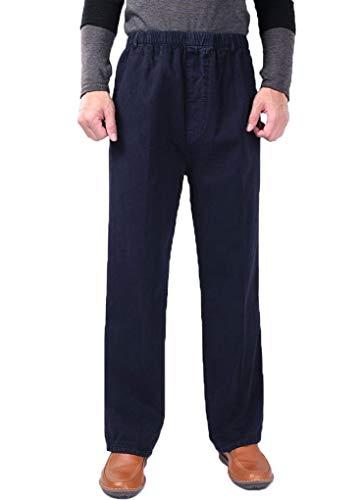 Soojun Mens Cotton Relaxed Fit Full Elastic Waist Pants