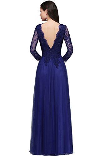 Tüll Elegant Royal Rückenfrei Ballkleid MisShow® Damen Brautkjungfernkleid 32 Abendkleid Blau Spitzen lang 46 5XxWqTwqfP