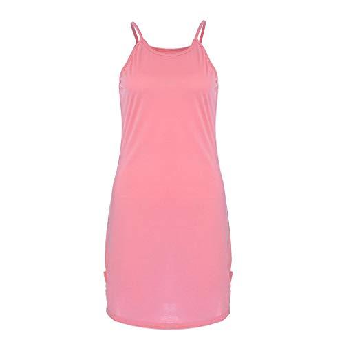 Mysky Fashion Women Summer Classic Pure Color Soft Sleeveless Camisole Mini Dress -