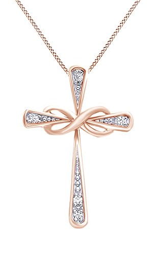 White Natural Diamond Accent Infinity Cross Pendant Necklace 14k Rose Gold Over Sterling Silver