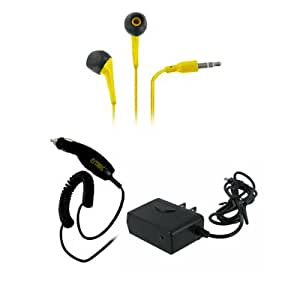 EMPIRE LG Viper LS840 3.5mm Stereo Earbud Headphones (Yellow) + Car Charger + Wall Charger [EMPIRE Packaging]