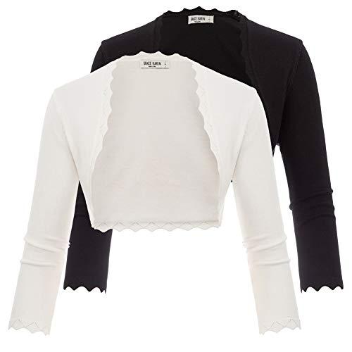 GRACE KARIN 2 Pack Scalloped Cropped Knit Open Front Bolero Shrug Black & White Size XL ZHXS0068-3