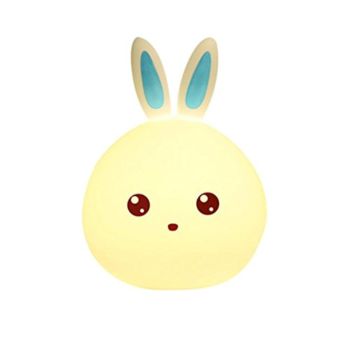 Sulear Night Light,Children Light Toys Bedroom Decoration with Color Change Function Lovely Rabbit Smile Face Mini LED Lamp Bulb (BLUE)