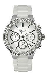 DKNY Ceramic Glitz Chronograph White Dial Women's watch -