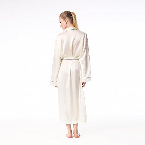 Jasmine Silk 100% Seide Morgenmantel Robe Damen White