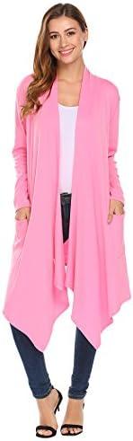 sexyfree chaqueta de punto jersey para mujer, manga larga frontal abierto, sueltas Casual bolsillo chamarra de punto