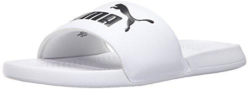 PUMA Men's Popcat Slide Sandal White Black, 11 M US (White Jordan Sandals)