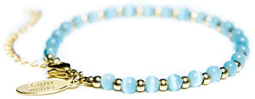 Womens Bracelet Gold 14k Gold + Water Drop Aqua Cat Eye Beads Fashionable & Stylish by Benevolence LA