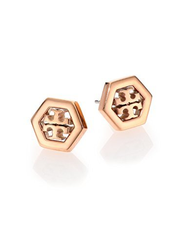 Tory Burch Hex-Logo Stud Earrings 16k Rose Gold ()