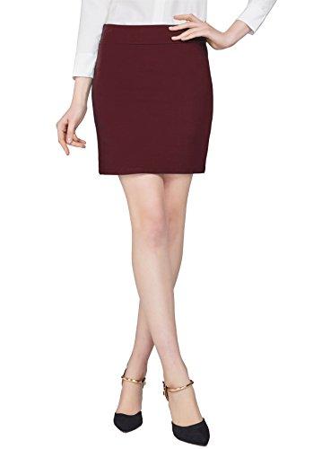 Urban GoCo Mujeres Falda Mini Recta Cintura Elástica Stretch Bodycon Tubo Falda Corta Oficina Vino rojo