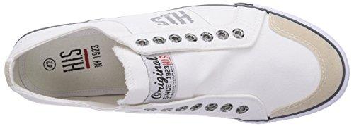 H.I.S 141-007 - zapatilla deportiva de lona hombre blanco - Weiß (White)