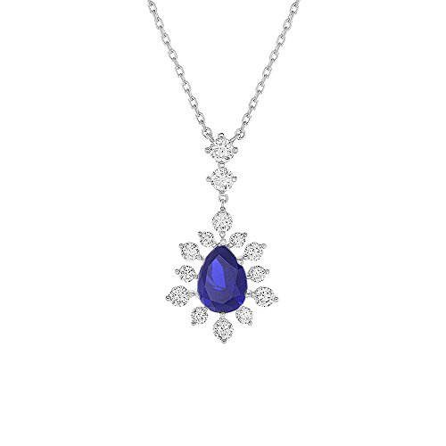 Pear Shape Center - Rhodium Plated Sterling Silver Pear Shape 1.8 cttw CZ Center Stone Vintage Pendant Necklace (Colors), Blue